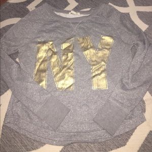 Aeropostale grey and gold sweater